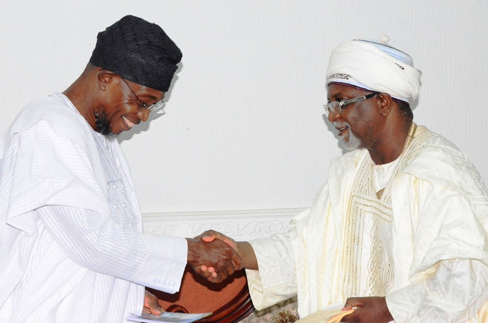 Governor State of Osun, Ogbeni Rauf Aregbesola in a warm handshaking with the representative of Sultan of Sokoto, Alhaji Mallami Maccido (Ubandoma of Sokoto), during a condolence visit to the Governor on the death of President General, League of Imams and Alfas South-west including Edo and Delta States, Alhaji Sheik Mustapha Ajisafe,held at Government House, Osogbo on Saturday 13/09/2014