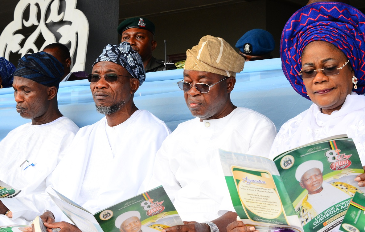 From right, Deputy Governor, State of Osun, Mrs Titi Laoye-Tomori; Chief of Staff to the Governor, Alhaji Gboyega Oyetola; Governor Rauf Aregbesola and Secretary to the State Government, Alhaji Moshood Adeoti, during the 8th Day Fidau Prayer for the President General, League of Imams and Alfas, South-West, Edo and Delta, Late Sheik Mustapha Ajisafe at Osogbo City Stadium, Osogbo, State of Osun on Wednesday 17-09-2014