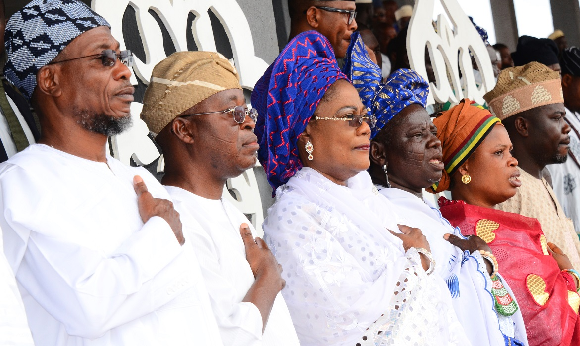 From left, Governor State of Osun, Ogbeni Rauf Aregbesola; Chief of Staff to the Governor, Alhaji Gboyega Oyetola; Deputy Governor, Mrs Titi Laoye-Tomori; Iyaloja of Osogboland Chief Awawu Asindemade; Women Leader, All Progressives Congress, Osun Chapter, Alhaja Kudirat Fakokunde and Commissioner for Home Affairs, Culture and Tourism, Honourable Sikiru Ayedun, during the 8th Day Fidau Prayer for the President General, League of Imams and Alfas, South-West, Edo and Delta, Late Sheik Mustapha Ajisafe at Osogbo City Stadium, Osogbo, State of Osun on Wednesday 17-09-2014