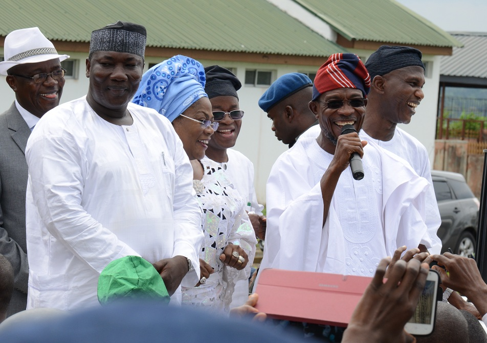 Governor State of Osun, Ogbeni Rauf Aregbesola, addressing Workers who trouped out en-mass to rejoice with him after his victory for second term in office, With him are, From left, Speaker of the House of Assembly, Hon. Najeem Salam; held of service, Mr Sunday Owoeye; Deputy Governor, Mrs Titi Laoye-Tomori; Chief of Staff to the Governor, Mr Gboyega Oyetola; Secretary to the Government, Alhaji Moshood Adeoti and others, at Governor's Office, Abere, State of Osun on Wednesday 10-09-2014
