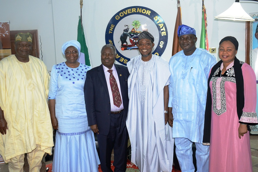 Governor State of Osun, Ogbeni Rauf Aregbesola (2nd right); General Superintendent  of Deeper Life Bible Church, Pastor Williams Kumuyi (3rd left)i; his wife, Esther (2nd left); State Acting Chairman of All Progressive Congress (APC), Prince Famodun (left); Secretary of the Party, Elder Adelowo Adebiyi and Alhaja Ayo Omidiran, during a visit by members of Deeper Life Church to the Governor at Government House, Osogbo, State of Osun on Friday 19-09-2014