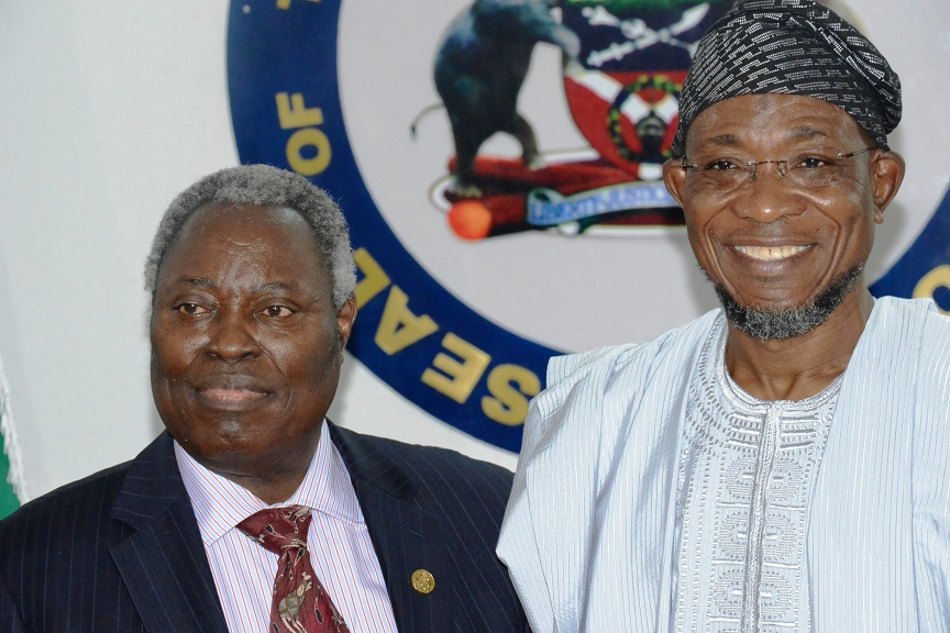 Governor State of Osun, Ogbeni Rauf Aregbesola and General Superintendent  of Deeper Life Bible Church, Pastor Williams, during a visit by members of Deeper Life Church to the Governor at Government House, Osogbo, State of Osun on Friday 19-09-2014