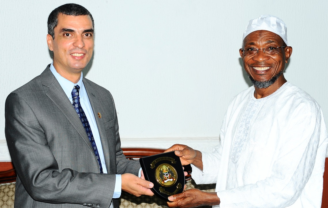 Governor State of Osun, Ogbeni Rauf Aregbesola (right) with Team Leader, World Bank/French Development Agency, Mr Mohammed Essakali, during a Courtesy Visit to the Governor at Government House, Osogbo, State of Osun on Tuesday 16-09-2014