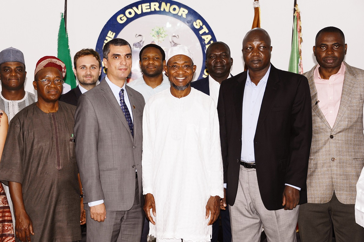 Governor State of Osun, Ogbeni Rauf Aregbesola (centre); Team Leader, World Bank/French Development Agency, Mr Mohammed Essakali (2nd. Left); National Coordinator, Rural Access and Mobility Project (RAMP), Engineer Ubandoma Ularamu (2nd right); Chief of Staff to the Governor, Alhaji Gboyega Oyetola (left) and others, during a Courtesy Visit to the Governor at Government House, Osogbo, State of Osun on Tuesday 16-09-2014