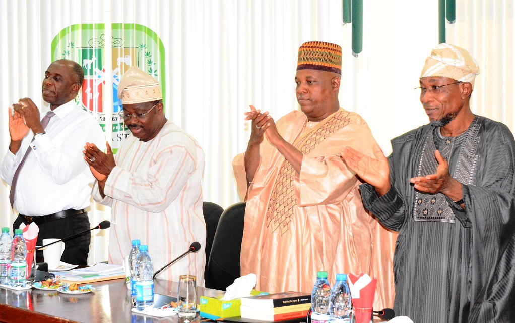 From right, Governor Rauf Aregbesola of Osun; Governor Ibrahim Shetima of Borno State; Governor Abiola Ajimobi of Oyo and Governor Rotimi Ameachi of Rivers States, during the All Progressives Congress (APC) Governors' Forum in Kwara State Government House, Ilorin on Wednesday 22-10-2014