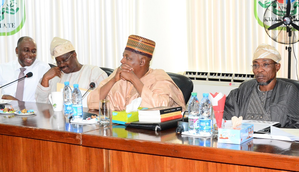From right, Governor Rauf Aregbesola of Osun; Governor Ibrahim Shetima of Borno and Senator Abiola Ajimobi of Oyo States, during the All Progressives Congress (APC) Governors' Forum in Kwara State Government House, Ilorin on Wednesday 22-10-2014