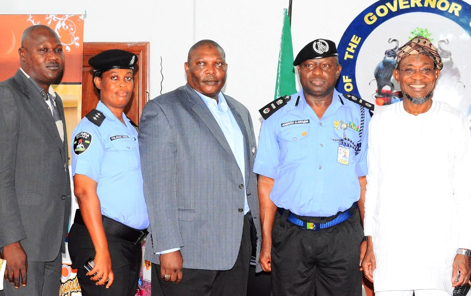 From right-* Governor State of Osun, Ogbeni Rauf Aregbesola; Inspector General of Police Zone 11, Ambrose Aisabor; Deputy Commissioner of Police in charge of Criminal Investigation Department (CID), State of Osun, Omololu Bishi, Osun Police Public Relation Officer (PPRO), Folashade Odoro and Aide-De-Camp (ADC) to the Governor state of Osun, Ajasa Hakeem, during a courtesy visit to the Governor at Government House, Osogbo on 21/10/2014.