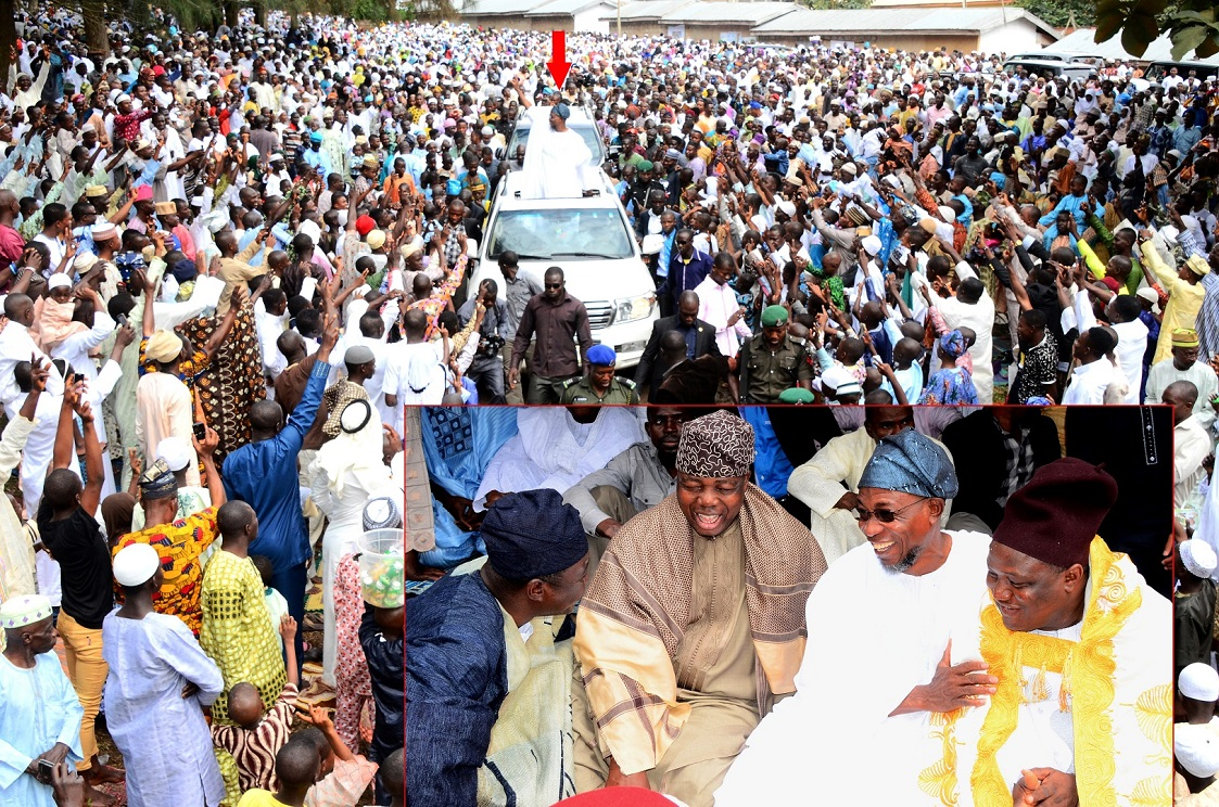 Governor State of Osun, Ogbeni Rauf Aregbesola (arrowed) acknowledging cheers from crowd, during the 2014 Eid-el-Kabir Prayer at the Central Eid, Osogbo, State of Osun. Insert: From right, Ataoja of Osogboland, Oba Jimoh Olanipekun; Governor Rauf Aregbesola; Asiwaju Adeen of Yorubaland, Chief Tunde Badmus and Chieftain, All Progressives Congress (APC), Senator Bayo Salami, on Saturday 04-10-2014