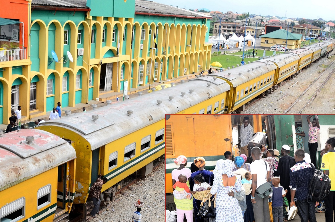 Omoluabi Free Train Ride offered by Governor Rauf Aregbesola for this Year's Eid-el-Kabir Celebration at Osogbo Terminus, State of Osun. Insert: Passengers boarding the Free Train Ride for a Return Journey to Lagos in Osogbo, on Tuesday 07-10-2014