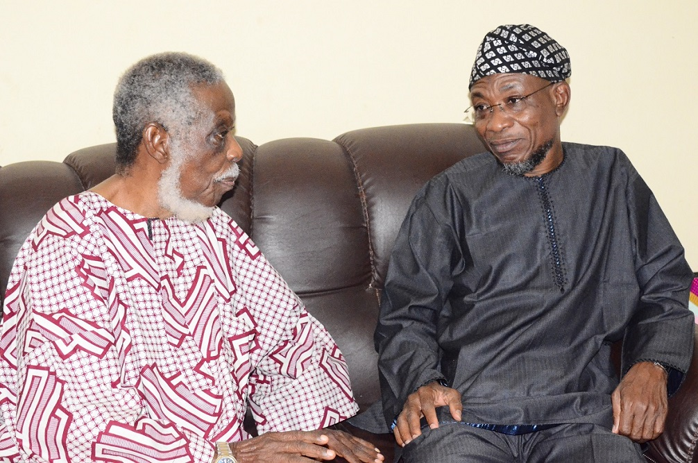 Governor State of Osun, Ogbeni Rauf Aregbesola (right) Commiserating with Afenifere Chieftain, Senator Ayo Fasanmi (left) on the demise of his wife, Mrs Felicia, during a condolence visit to Fasanmi's residence in Osogbo, State of Osun on Friday 10-10-2014