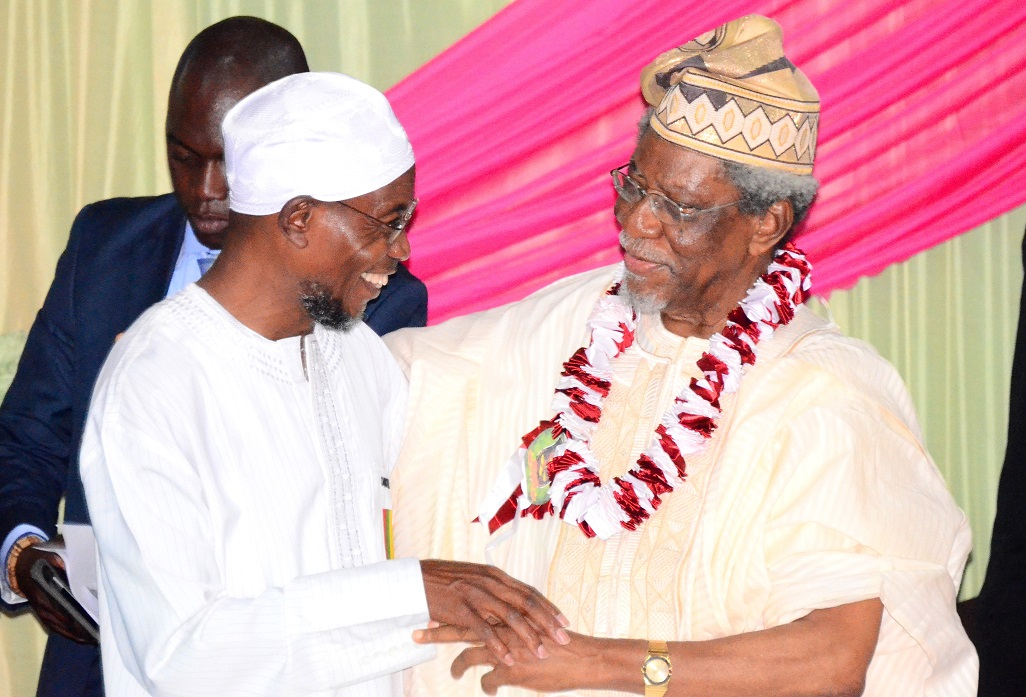 Governor State of Osun, Ogbeni Rauf Aregbesola (left) with Former Federal Commissioner for Works and Housing, Alhaji Lateef Okunnu, during the 6th Annual Alhaji Lateef 'Femi Okunnu Lecture Series organized by Nigeria Association of Muslim Law Students (NAMLAS), at Obafemi Awolowo University (OAU) Conference Centre, Ile-Ife, recently