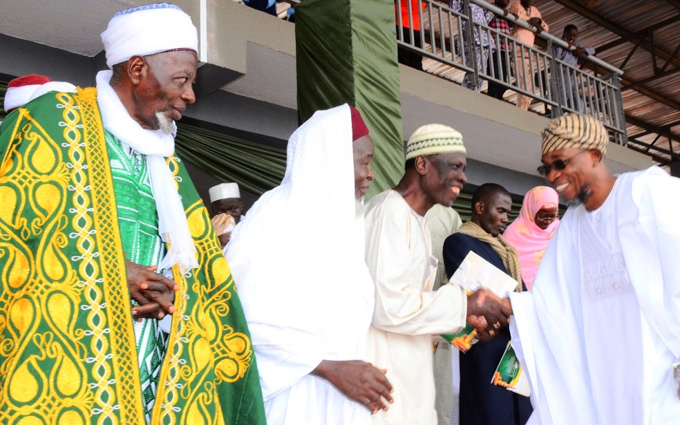 From right, Governor State of Osun, Ogbeni Rauf Aregbesola; representative of Ataoja of Osogboland, Chief Sulaimon Olanipekun; President Osun Muslim Community, Sheikh Salawudeen Olayiwola and Grand Imam of Osun, Sheikh Musa Animashaun, during Hijrah 1436AH Celebration at Osogbo City Stadium on Saturday 25/102014