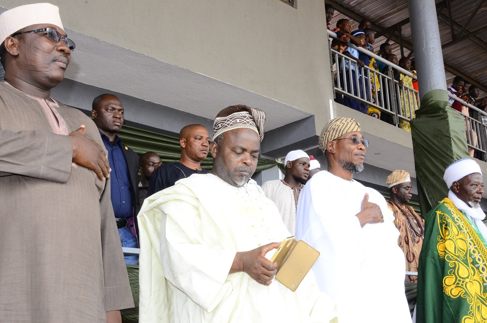 From left, Speaker, State of Osun House of Assembly, Honourable Najeem Salam; Chairman of the Occasion, Professor Mojeed Alabi; Governor State of Osun, Ogbeni Rauf Aregbesola and Grand Imam of Osun, Sheikh Musa Animashaun, during Hijrah 1436AH Celebration at Osogbo City Stadium on Saturday 25/102014