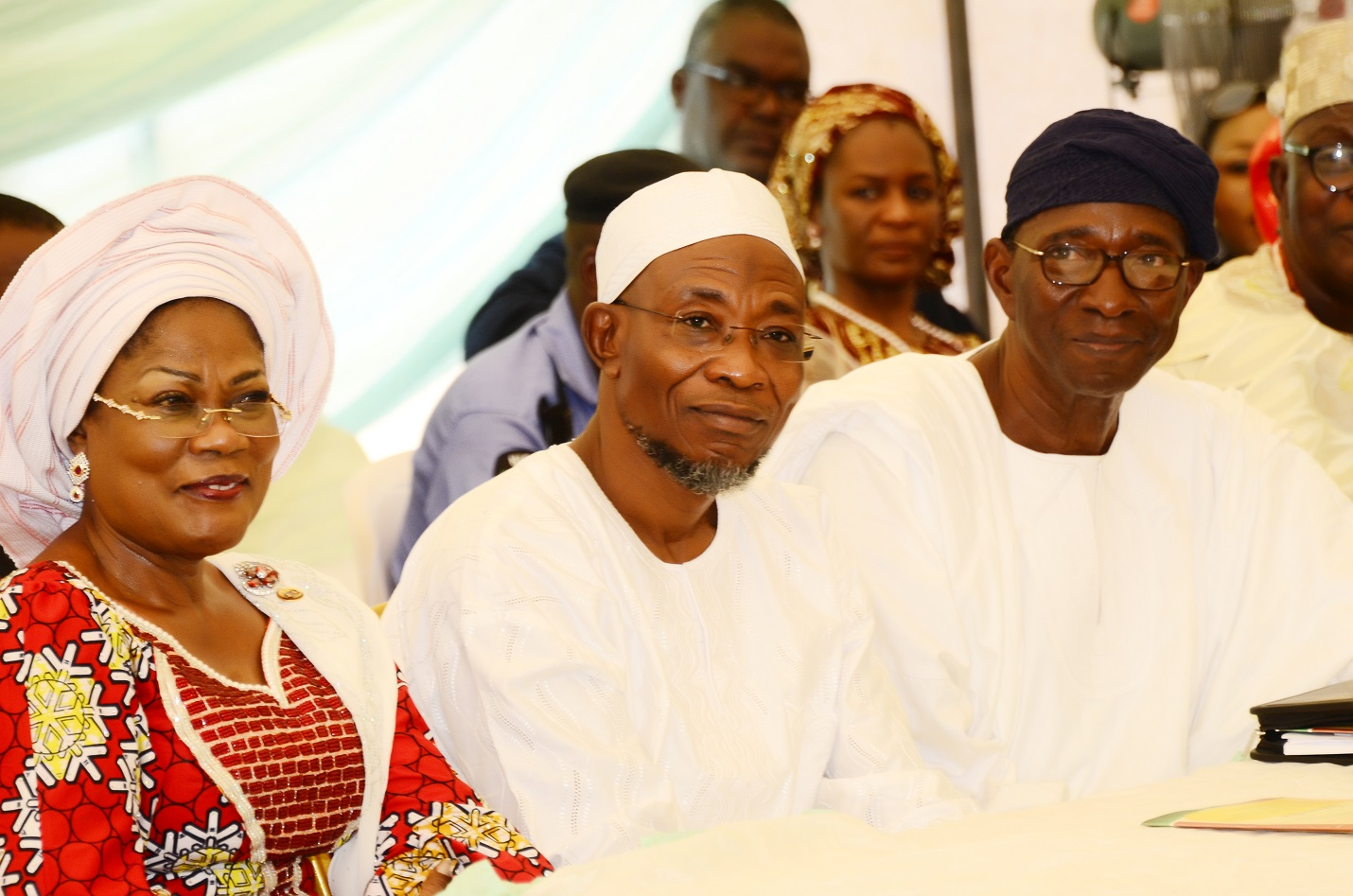 From left, Deputy Governor State of Osun, Mrs Titi Laoye-Tomori; Governor Rauf Aregbesola and Vice Chairman, Board of Trustees (BOT) Igbajo Polytechnic, Chief Moses Aboaba, during the Polytechnic's 1st Education Summit at the School Premises, Igbajo, State of Osun on Thursday 09-10-2014