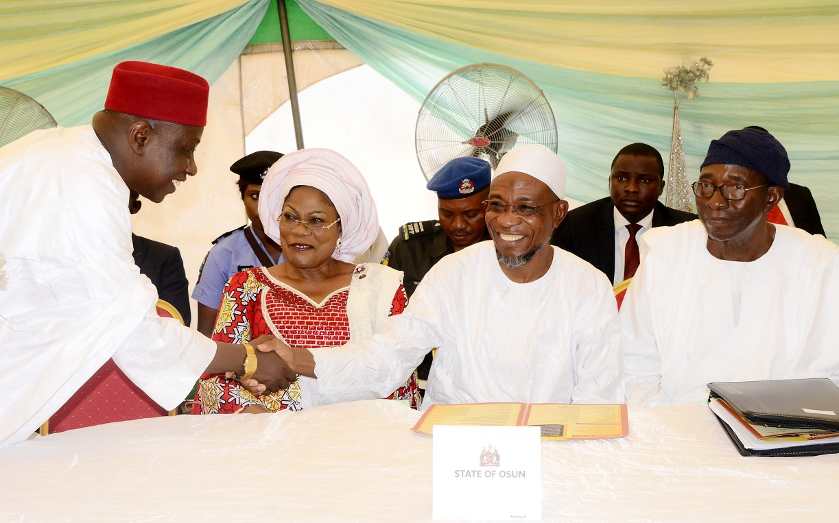 From left, Kano State Attorney General/Commissioner for Justice, Barrister Malik Umar; Deputy Governor State of Osun, Mrs Titi Laoye-Tomori; Governor Rauf Aregbesola and Vice Chairman, Board of Trustees (BOT) Igbajo Polytechnic, Chief Moses Aboaba, during the Polytechnic's 1st Education Summit at the School Premises, Igbajo, State of Osun on Thursday 09-10-2014