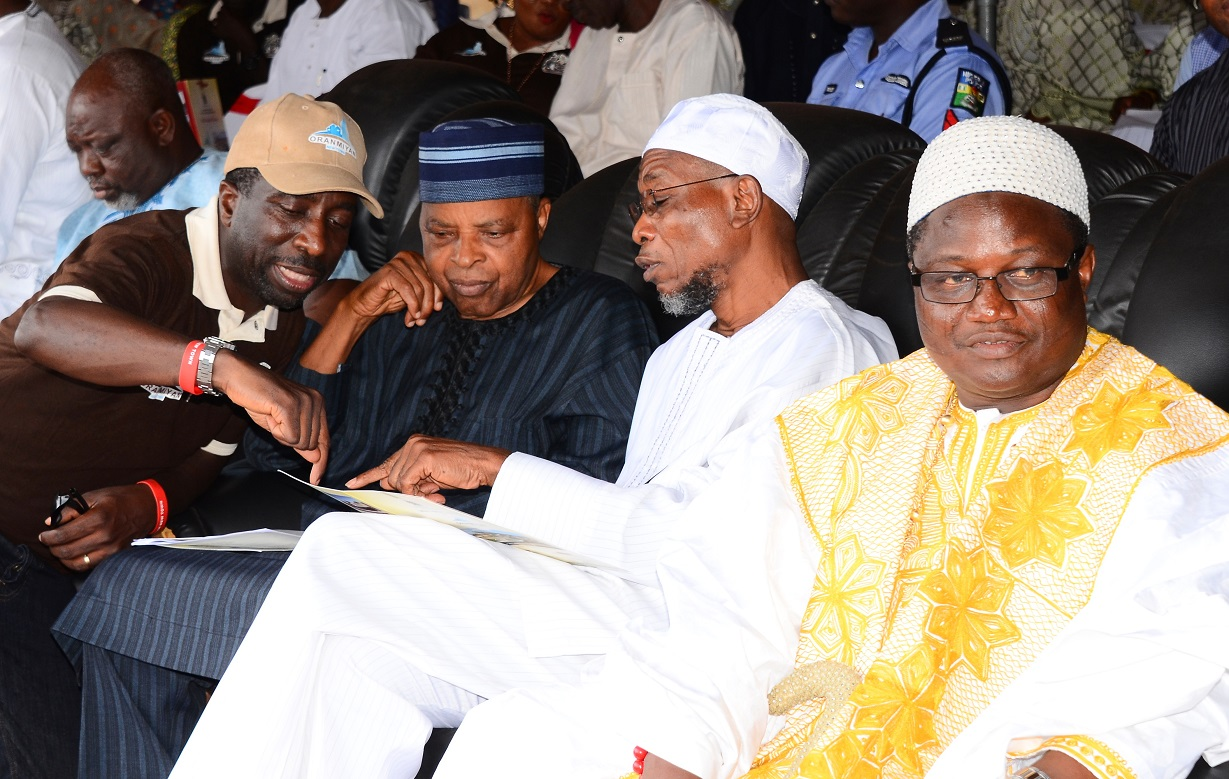 From right, Ataoja of Osogboland, Oba Jimoh Olanipekun; Governor State of Osun, Ogbeni Rauf Aregbesola; Former Chief of Defence Staff, Lieutenant-General Alani Akinrinade and Commissioner for Lands, Physical Planning and Urban Development, Architect Muyiwa Ige, during the Official Flag-Off and Model Unveiling for Oranmiyan New Town, at proposed Polo ground, Osogbo, State of Osun on Thursday 23-10-2014
