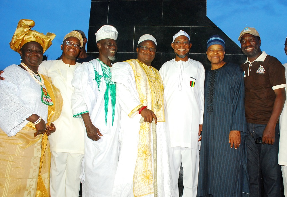 Governor State of Osun, Ogbeni Rauf Aregbesola (3rd right); Ataoja of Osogboland, Oba Jimoh Olanipekun (centre); Former Chief of Defence Staff, Lieutenant-General Alani Akinrinade (2nd right); Chief of Staff to the Governor, Alhaji Gboyega Oyetola (2nd left); Commissioner for Lands, Physical Planning and Urban Development, Architect Muyiwa Ige (right); a Community Leader in Osogbo, Alhaji Gazali Owolabi (3rd left) and Iyaloja-General of Osogboland, Chief Awawu Asindemade (left), during the Official Flag-Off and Model Unveiling for Oranmiyan New Town, at proposed Polo ground, Osogbo, State of Osun on Thursday 23-10-2014