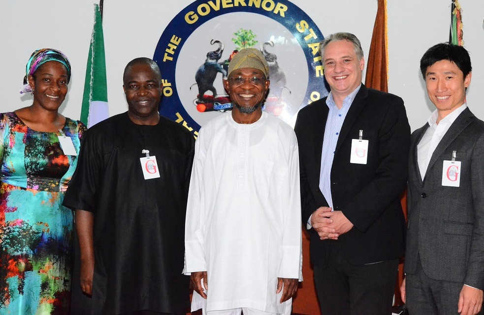 Governor State of Osun, Ogbeni Rauf Aregbesola(middle); German Chief Executive Officer, Entrade Energiesystem, Mr. Julien Uhlig (2nd right); Chinese Chief Financial Officer, Entrade Energiesystem, Mr. James Kong (right); Chairman, Citiengineers Limited, Mr. Bello Olatunji (2nd left) and Co-ordinator, Entrade Energiesystem, Mrs. Olanike Adewole (left) during a courtesy visit to the governor at Government House on 30/10/2014.