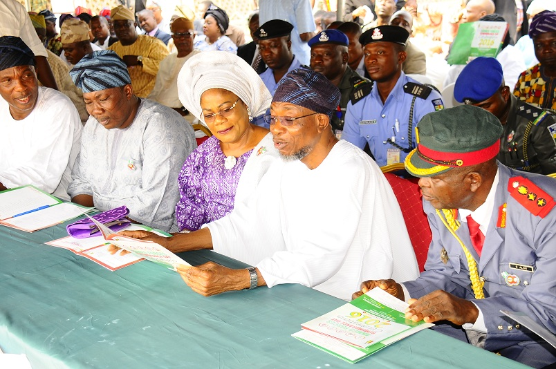 From right, Chairman, Nigeria Legion, State of Osun, Col. Alimi Samotu; Governor Rauf Aregbesola; his deputy, Mrs Titi Laoye-Tomori; Speaker of the House of Assembly, Hon. Najeem Salam and Secretary to the State Government, Alhaji Moshood Adeoti, during the 2016 Armed forces Remembrance Day in Osogbo on Friday 15-01-2016