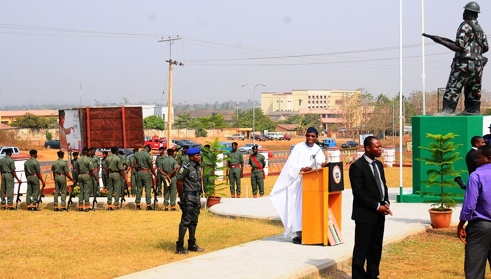 Governor State of Osun, Ogbeni Rauf Aregbesola, delivering an address, during the 2016 Armed forces Remembrance Day in Osogbo on Friday 15-01-2016