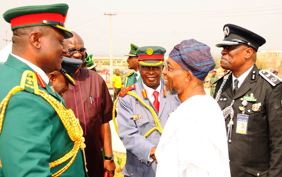 Governor State of Osun, Ogbeni Rauf Aregbesola; State Commissioner of Police, Mr. Kola Sodium (right); Commander Engineer Construction Command, Ede, Brig. Gen. Jude Egbudom (left); State Chairman, Nigeria Legion, Col. Alimi Samotu and others, during the 2016 Armed Forces Remembrance Day in Osogbo on Friday 15-01-2016