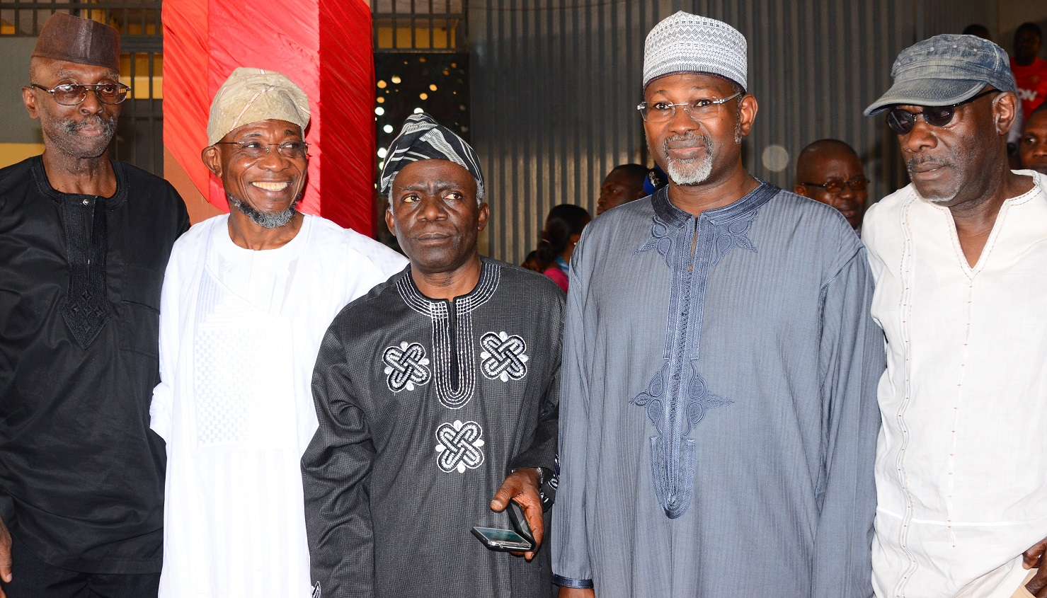From Left- First President, Academic Staff Union of Universities {ASUU},Professor Biodun Jeyifo, Governor State of Osun, Ogbeni Rauf Aregbesola, Chairman of the Occasion, Barrister Femi Falana (SAN), Keynote Speaker, Professor Attahiru Jega,and Professor Kole Omotoso during the 70th Birthday of Prof. Biodun Jeyifo, at the International Conference  Centre, Obafemi Awolowo University, Ile-Ife on Thursday 20/01/2016.