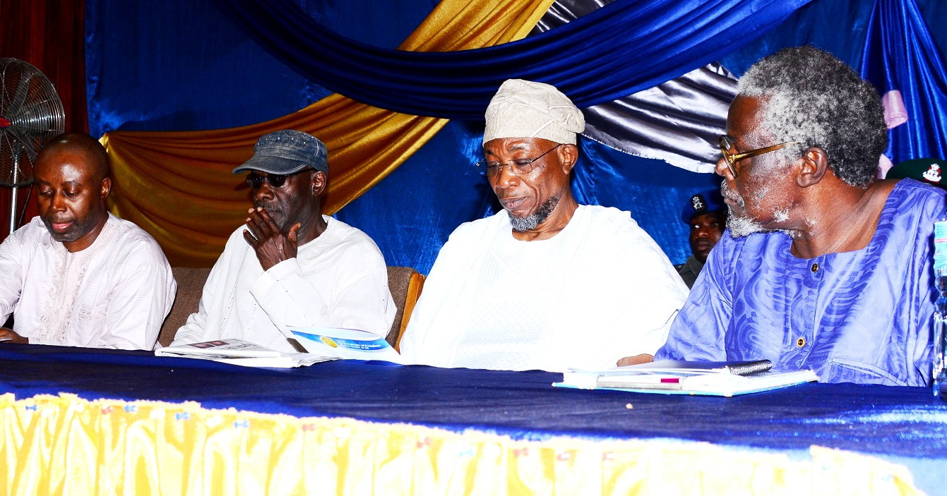 From right- Lead Speaker and Chairperson, Dr. Edwin Madunagu, Governor State of Osun, Ogbeni Rauf Aregbesola,  Professor Kole Omotoso and Comrade Chido Onumah, during the 70th Birthday of the first President, Academic Staff Union of Universities {ASUU},Prof. Biodun Jeyifo, at International Conference  Centre, Obafemi Awolowo University,  Ile-Ife on Thursday 20/01/2016.