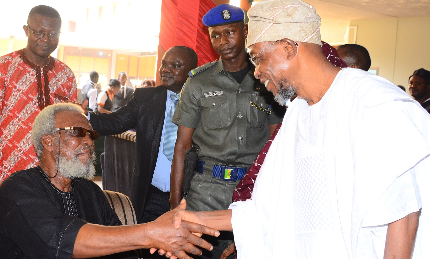Governor State of Osun, Ogbeni Rauf Aregbesola, exchanging greetings with Dr. Seinde Arigbede,during the 70th Birthday of the first President, Academic Staff Union of Universities {ASUU},Prof. Biodun Jeyifo, at International Conference  Centre, Obafemi Awolowo University,  Ile-Ife on Thursday 20/01/2016.