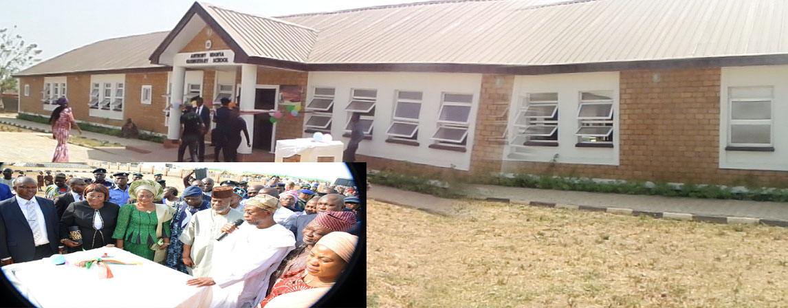 The newly commissioned Anthony Udofia Elentaty School in Osogbo. Insert is Governor State of Osun, Ogbeni Rauf Aregbesola, acknowledging cheers, during the commission of the School in Osogbo on Tuesday 12-01-2016