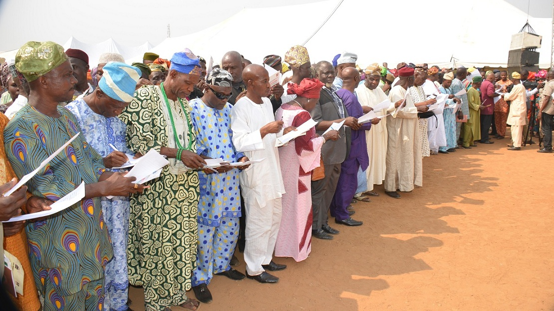 A cross section of the newly inaugurated Community Based School Management Committee by Governor Rauf Aregbesola to oversee the School activities in Osun, during the inauguration at the Government Technical College, Osogbo on Thursday 14-01-2016.