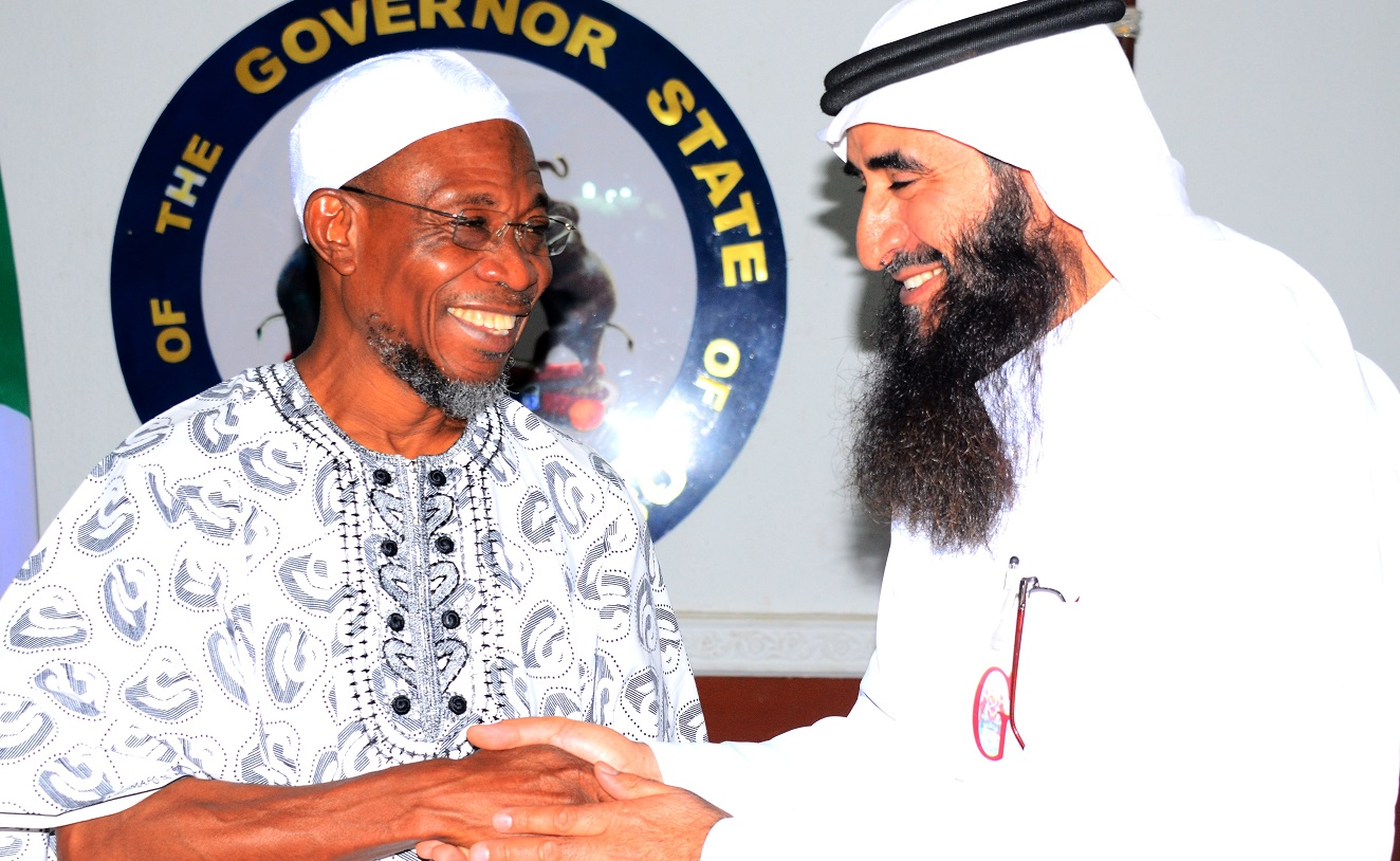 Governor State of Osun, Ogbeni Rauf Aregbesola with Head of South Africa Committee in World Assembly of Muslim Youth (MAMY),Abdulrahman Al-Jammami during a Courtesy visit to the Governor at thr Government House, Osogbo