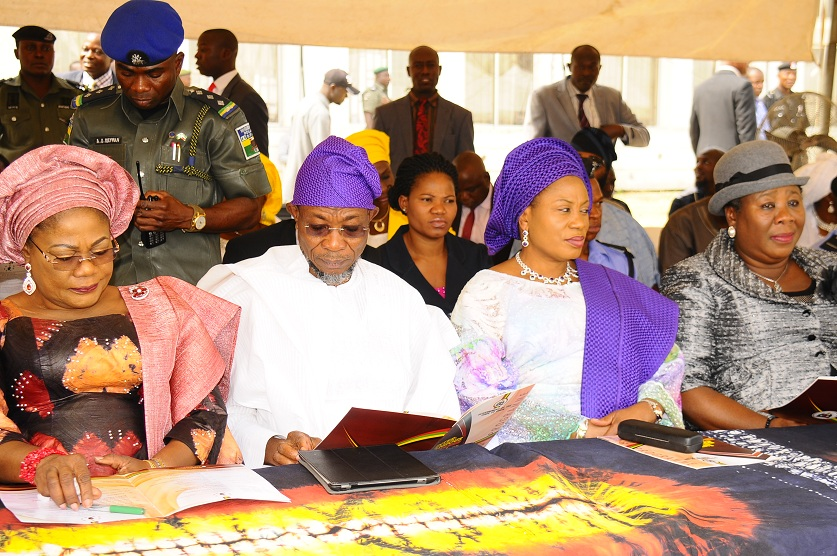 From left, Deputy Governor, State of Osun, Mrs titi Laoye-Tomori; Governor Aregbesola; his wife, Sherifat and Chief Judge, Justice Adepele Ojo, at the Inter-Religious Service, held at the State Secretariat, Abere, Osogbo on Monday 04-01-2016