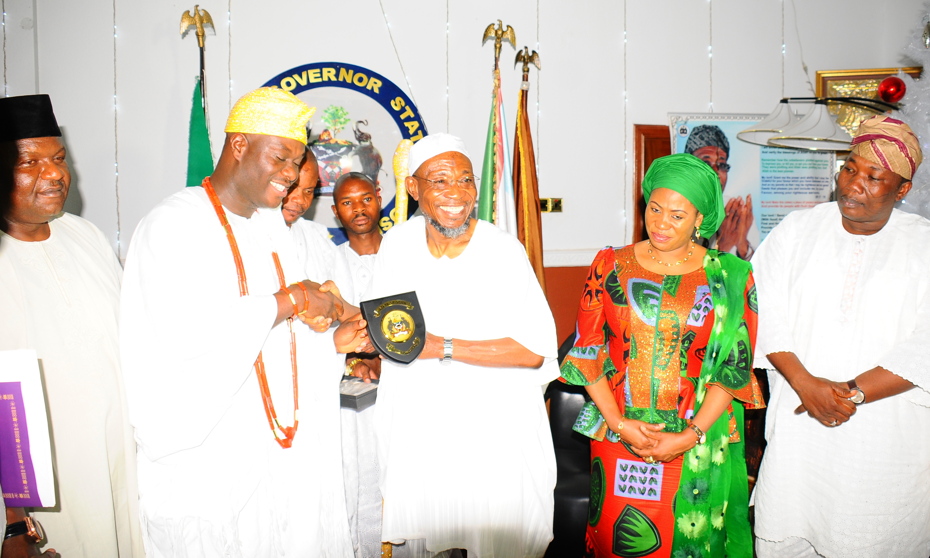 From left, Chairman of All Progressives Congressives Osun, Prince Gboyega Famodun; Ooni of Ife, Oba Adeyeye Enitan Ogunwusi; Governor State of Osun, Ogbeni Rauf Aregbesola; his wife, Sherifat and Speaker, House of Assembly, Hon. Nejeem Salam, during a visit by the monarch to the Governor at the Government House, Osogbo on Wednesday 06-01-2016
