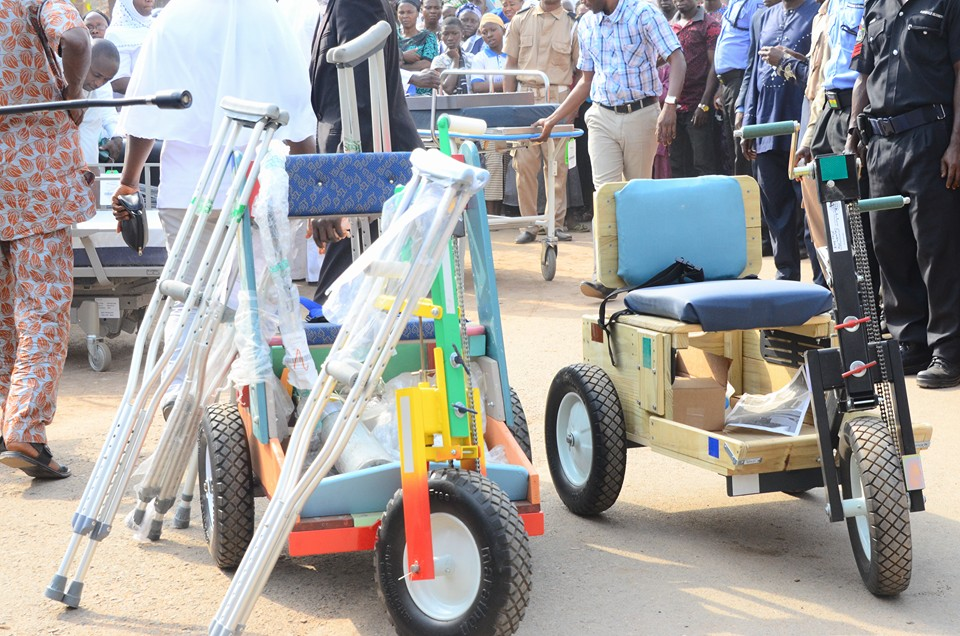 wheelchairs and crutches were also part of the equipment commissioned at the event